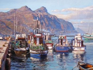Fishing boats, Hout Bay - W76cm X H51cm R13,500