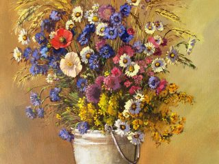 Flowers in a bucket - W94cm X H73cm R18,000